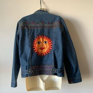 Chico's embroidered silk patchwork denim jacket